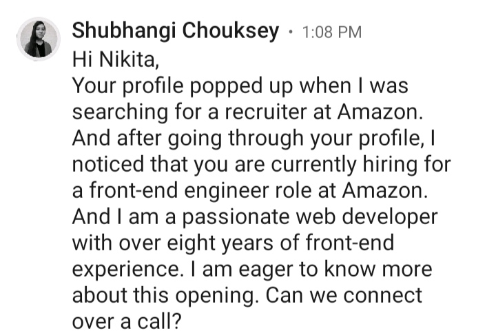 Message recruiters to get hired at their companies